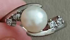 Crystal Pearl Solitaire Dress Ring Antique Vintage 925 Sterling Silver