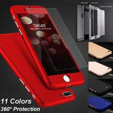 For iPhone X 6S 7 8 Plus Slim Shockproof Case 360 Full Body Cover Tempered Glass