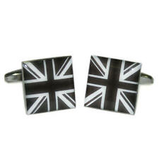 Black & White Square Union Jack Cufflinks With Gift Pouch Uk United Kingdom