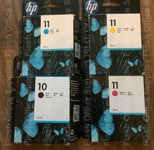 Genuine HP 10 & HP 11 Ink Cartridges C4844A C4836A/7A/8A DATED 2019/2020 VAT INC