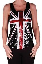 Womens Sequined Britania Union Jack Flag Scoop Neck Sleeveless Blouse Tank Top