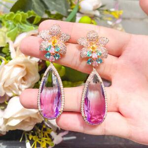 Boho Pave Rainbow Multicolor CZ Flower Long Drop 925 Silver Earrings for Women