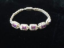 "Beautiful Vintage Heavy Sterling Silver Bracelet with Amethyst Stones - 7 1/2"""