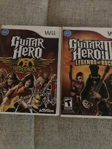 Lot of 2 Complete Nintendo Wii Guitar Hero Games Aerosmith & III Legends of Rock