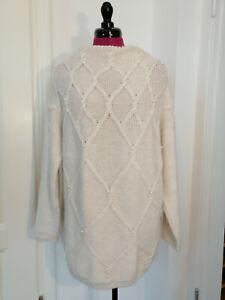 Reserved etwas dicker Feinstrick Pullover Gr. M Oversize in Cream Weiß Perlen