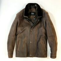 Remy Men's Thick Suede Jacket with Fur Collar Brown Size 46 Made in the USA