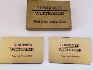 "Vintage Pair ""Longines Wittnaur Watches"" Brass Store Advertising Display Signs"
