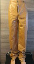 TSCHUL  soft Genuine Leather  Mens orange Trousers  pants size W38 L30
