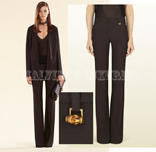 $895 GUCCI PANTS DEEP BROWN SATIN SKINNY FLARE TROUSERS BAMBOO DETAIL IT 40 US 4