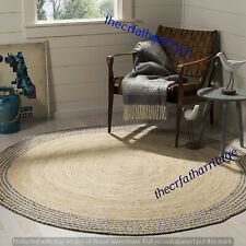 Round Cotton & Jute Rug Bohemian 4 Feet Area Dhurrie Reversible Floor Carpets