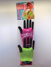 Neon Green Pink  Fishnet Fingerless Women's Gloves Costumes Halloween 80's Dance