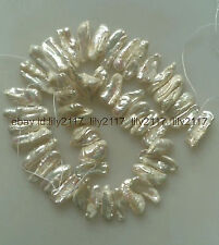 """AAA+Natural pearl 8x16mm white tooth shape freshwater pearl loose beads 15"""""""