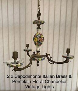 2 x Capodimonte Italian Brass & Porcelain Floral Chandelier Vintage Lights