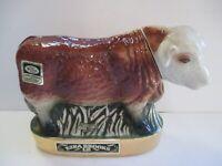 VINTAGE EZRA BROOKS PORCELAIN COW DECANTER 24K GOLD 1971 EMPTY
