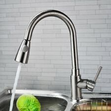 Brushed Nickel Kitchen Faucet Pull Out Sprayer One Hole Swivel Sink Mixer Tap MX