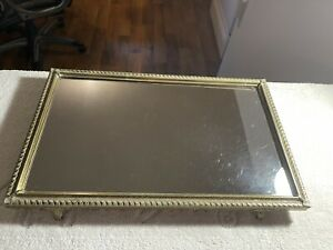 Vintage Vanity Footed Mirror Tray
