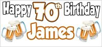 Beer 70th Birthday Banner x 2 Party Decorations Mens Husband Dad Grandad Son