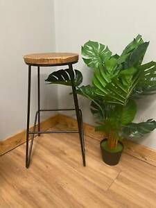 2 x Reclaimed Wooden Top Kitchen Bar Black Iron Metal Stool Industrial Style