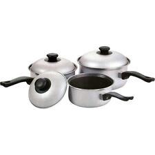 3PC NON STICK COOKWARE SET SAUCE PAN POT LID KITCHEN FRY PAN FRYING LIDS SILVER
