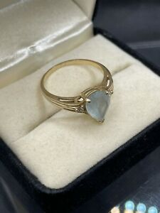 14K Yellow Gold Vintage Teardrop Aqua Marine Ring. 3 Stones Very Nice 7.5