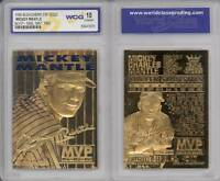 MICKEY MANTLE 1996 23KT Gold Card Sculptured * 3-Time MVP * Graded GEM MINT 10