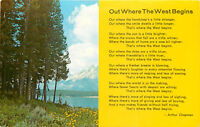Old Chrome Postcard WY C300 Out Where the West Begins Poem Nature Wyoming Trees