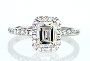 1.5CT Diamond Engagement Ring 18K White Gold Natural Emerald Cut GIA Certified