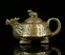 Collectible Decorated Old Handwork Copper Carved dragon turtle Tea Pot