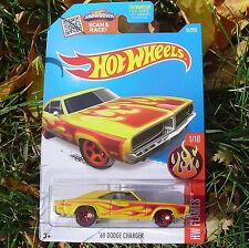 Yellow FLAME '69 Dodge Charger. HW Flames.  DHR06. NEW in Blister Package!