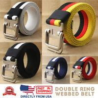 Men's Jean Belt, Casual Canvas Webbed Belt, Double Ring Metal Buckle