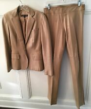 RALPH LAUREN 100% Lambskin Tan Leather Pantsuit: Jacket (6); Pants (4); $3998