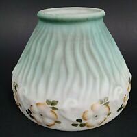 Vintage Lamp Shade Hand Painted White Porcelain Green Satin Leaf Light RARE!