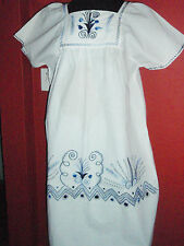 MEXICAN EMBROIDERED DRESS made BY hand BOHO HUIPIL VINTAGE STYLE MANTA TUNIC 1X