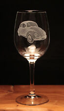 VW Volkswagen Beetle Car Classic engraved Wine Glass gift present