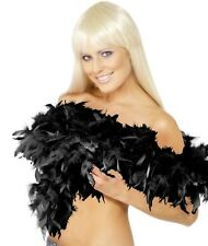 20s 1920s Deluxe Feather Boa Black Fancy Dress 2 Yard 1920's Boa New by Smiffys