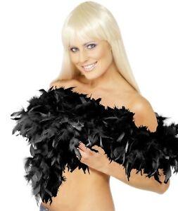 20s 1920s Deluxe Feather Boa Black Fancy Dress 2 Yard 1920's Boa New by Smiffys