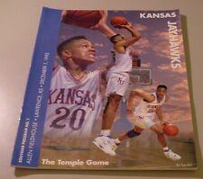 KU Jayhawk Basketball Program - Temple Dec 1, 1993