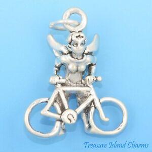 Guardian Cyclist Angel with Bicycle Bike 3D 925 Solid Sterling Silver Charm