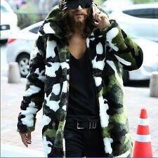 Men's chic winter camou faux fur collar jacket coats trench hiking parka outwear