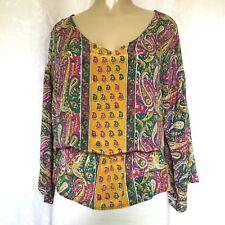 Tolani Silk Top Blouse Bell sleeve Peasant Paisley Elastic Waist V Neck M Shirt