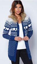 Ladies Size 16 Blue fairisle knit Fur Trim Long Hooded Cardigan
