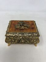 Vintage Ornate Metal Music Box With Flower Design On Top And Narco Mvmt Japan