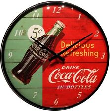 Wanduhr Coca Cola red ∅ 31 cm Echtglas Quarz Uhrwerk Blech Uhr 33