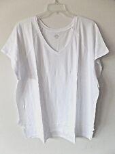Old Navy Womens XXLT XXL Tall 2XT White Slub Cotton Modal Soft Shirt Top V-Neck