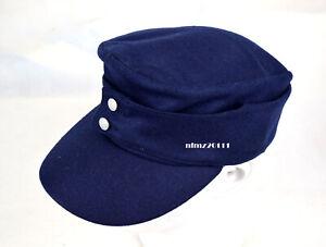 Replica WWII German Luftwaffe M43 FieldPanzer Wool Cap Hat Blue 57cm