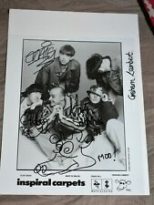 More details for inspiral carpets signed promotional photo from 1990 rare classic line up