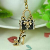 Black Color Crystal Diamante Handbag High Heel Shoe Purse Bag Charm Keyring S1O4