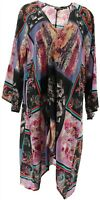 Tolani Collection Regular 3/4-Sleeve Open Duster Printed (BlackMulti, L) A353081