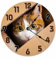 """Cat In Box Clock - Large 10.5"""" Wall Clock - 2094"""