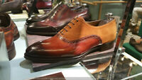 Handmade Men Leather Two tone Patina Oxfords Custom men dress shoes